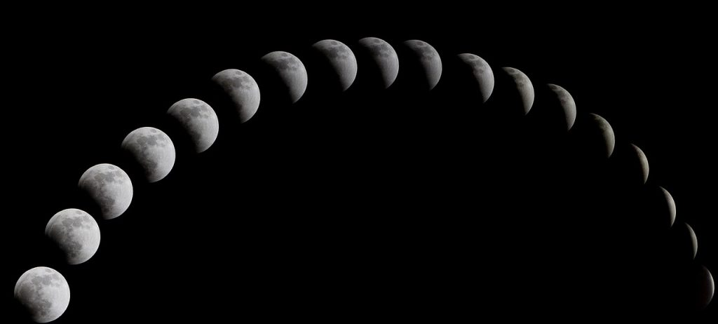 a total solar eclipse, the night sky, moon